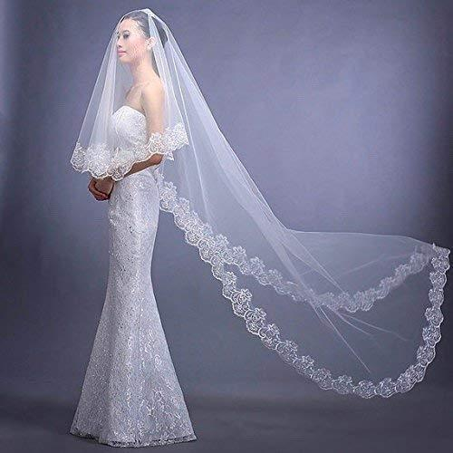 Cathedral Length Bridal Wedding Veil With Lace Trim - King City Treasures
