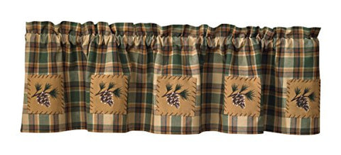 "Scotch Pine Pinecone Curtain Valance 60"" by 14"""