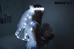 White Rose NightFlo w/ Light Up Veil for Wedding & Bachelorette Parties