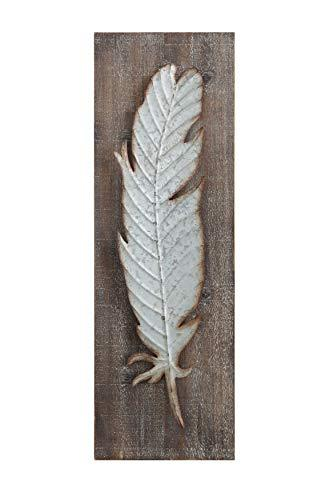 Creative Co-op DA5884 Wood Wall Décor with Metal Feather - King City Treasures