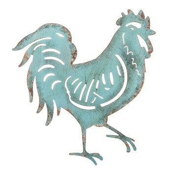 Turquoise Rooster Metal Wall Decor Kitchen