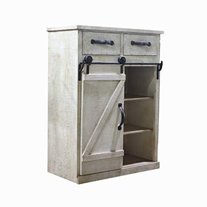 Rustic White Distressed Wood Storage Cabinet Sliding Barn Door