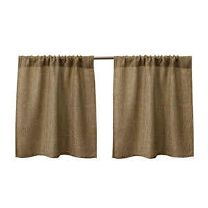 Valea Home Burlap Tier Curtains for Kitchen Rustic Tan Rod Pocket Curtains for Short Window 24 inch Linen Cafe Curtains