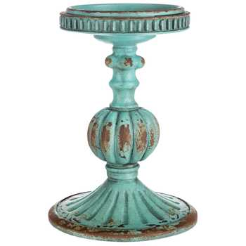 Blue Distressed Candle Holder - King City Treasures