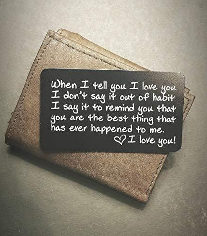 Engraved Wallet Inserts - Perfect Anniversary Gifts for Men; Surprise Him with this Engraved Handmade Mini Love Note; Anniversary Card from Wife; Anniversary Cards for Husband, Boyfriend; Deployment - King City Treasures