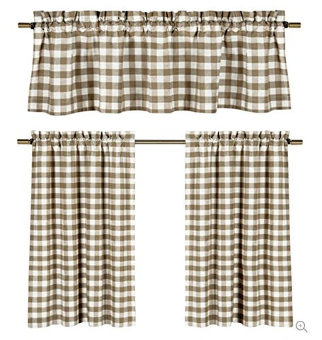 GoodGram 3 Pc. Plaid Country Chic Cotton Blend Kitchen Curtain Tier & Valance Set - Assorted Colors (Taupe)