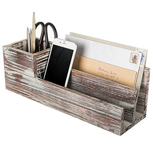 Rustic Torched Wood Desktop Office Supplies Caddy & 2 Slot Letter Mail Organizer