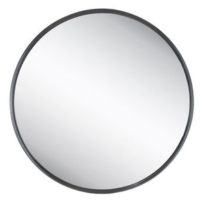 Black Thin Frame Round Metal Mirror