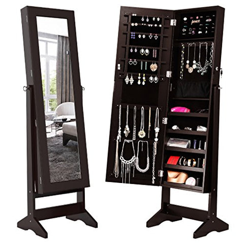 Lockable Jewelry Cabinet Jewelry Armoire with Mirror