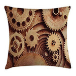 Ambesonne Industrial Throw Pillow Cushion Cover, Inside The Clocks Theme Gears Mechanical Device Image in Steampunk Style Print, Decorative Square Accent Pillow Case, 20 X 20 Inches, Cinnamon - King City Treasures