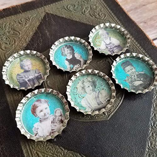 Set of 6 Vintage Style Kitchen Magnets Victorian Children Theme