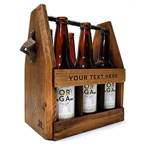 Handcrafted Wooden Six Pack Carrier with Bottle Opener