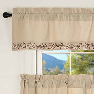 "Piper Classics Twig & Berry Vine Valance, 16"" x 60"", Beige w/Embroidered Berries, Farmhouse Country Primitive Curtain"