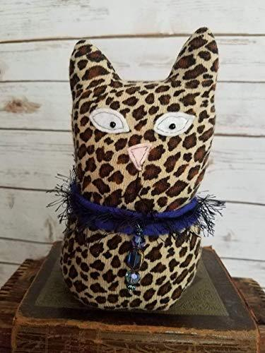 "9"" Tall Ragamuffin Ugly Sweater Handmade Kitty Cat Art Doll Leopard Stuffed Animal Cat Lovers Gift - King City Treasures"