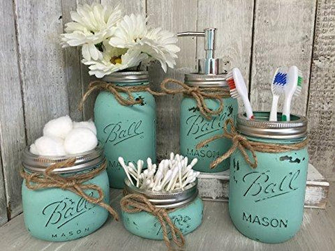 Seaglass Rustic Distressed Farmhouse Decor Bathroom Set