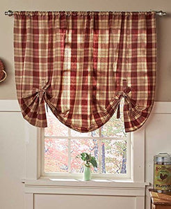 GetSet2Save Country Check Tie-Up Window Curtain (Burgundy)
