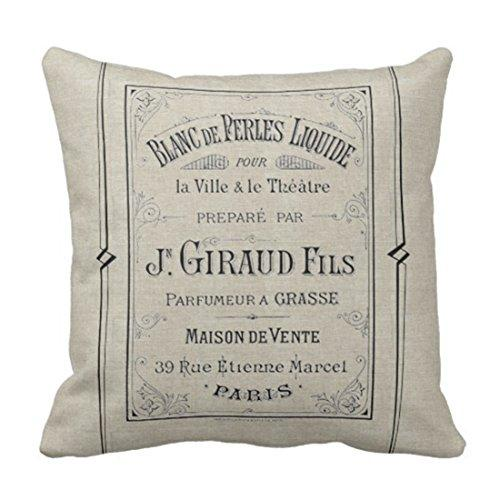 Emvency Throw Pillow Cover Vintage Advertisement French Perfume Ad Paris France Chic Decorative Pillow Case Home Decor Square 18 x 18 Inch Pillowcase - King City Treasures