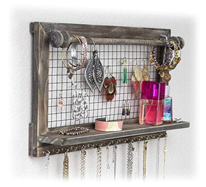 Rustic Jewelry Organizer with Removable Bracelet Rod