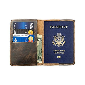 Durable Leather Passport Holder Handmade by Hide & Drink :: Bourbon Brown - King City Treasures