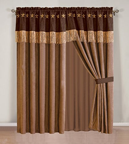 GrandLinen 4 Piece Western Lodge - Taupe/Brown Embroidered Lone Star Barbed Wire Curtain Set with Attached Valance and Sheers