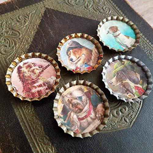 Set of 5 Vintage Style Kitchen Magnets Victorian Smoking Dog Theme