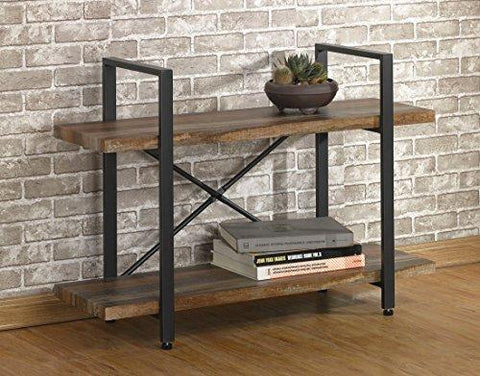 O&K Furniture 2-Tier Rustic Wood and Metal Bookshelves, Industrial Style Bookcases Furniture