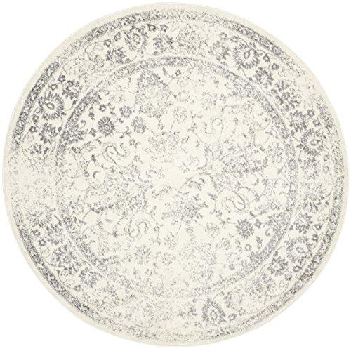 Safavieh Adirondack Collection ADR109C Ivory and Silver Oriental Vintage Distressed Round Area Rug (6' Diameter)