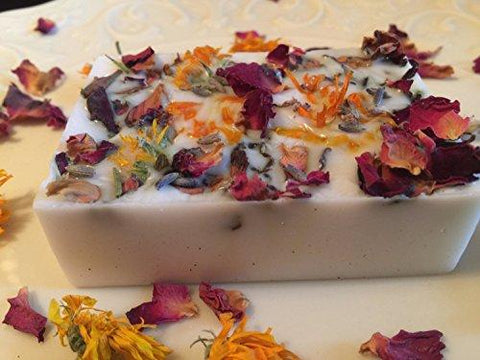 Organic Handmade Goat Milk Herb Soap. Topped with Calendula, Rose Petals and lavender. 4oz