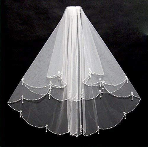 Pearl and Beaded Bridal Veil, Wedding Veil in White or Ivory