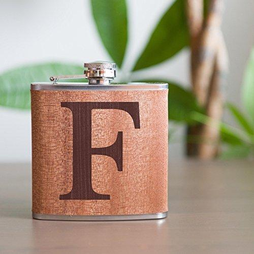 Personalized Flask - Real Wood Groomsmen Flasks Gift, Birthday Flask, 6oz Stainless Steel Wooden Flask Engraved - Best Man Gift Custom Engraved Flask, Monogram Groomsman Flask - Wedding Party Gift