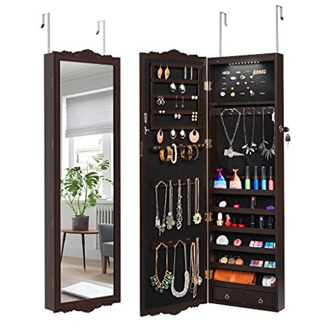 Full-Length Lockable Wall-Mounted Over-The-Door Hanging Jewelry Cabinet Armoire