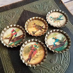 Set of 5 Vintage Style Kitchen Magnets Victorian Birds On Vacation Theme