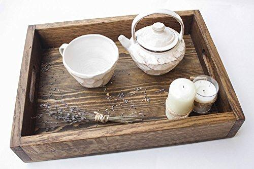Large Wooden Serving Tray with Handles Wood Tea Tray Breakfast Coffee Ottoman Table Decorative Platter with Handle Rectangular Stand Kitchen Housewarming Gift