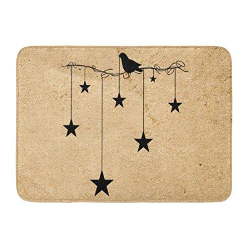 "Ablitt Bath Mat Brown Vintage Stars Crow Primitive Country Rustic Old Bathroom Decor Rug 16"" x 24"" - King City Treasures"