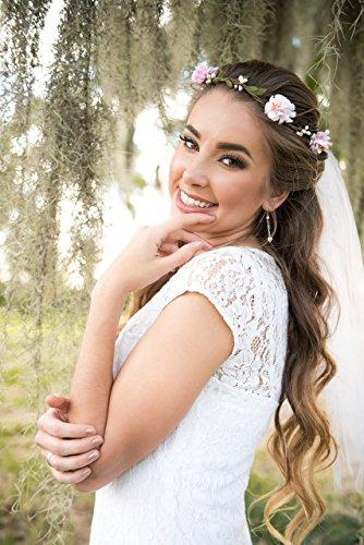 Flower Crown Veil - Bachelorette Veil - Blush Flowers