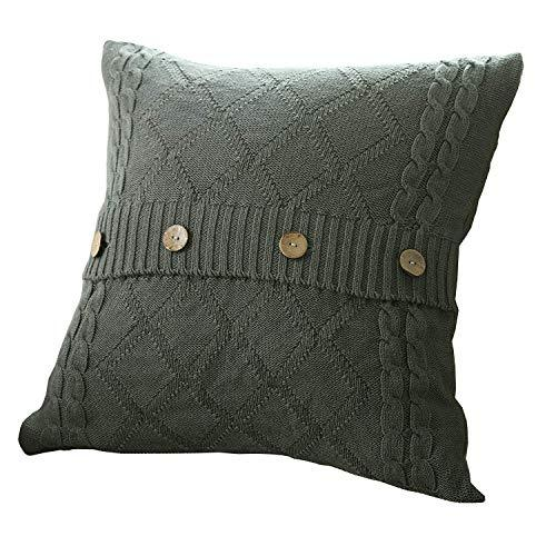 U'Artlines Cotton Knitted Decorative Pillow Case Cushion Cover Cable Knitting Patterns Square Warm Throw Pillow Cover (Grey, 18x18)