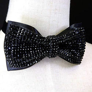 Black Crystal bow tie, 2 layers Rhinestones bow tie,black bow tie, Bling bow tie, bow tie black, black bow tie for ment, - King City Treasures