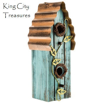 Turquoise Wood Birdhouse with Vines