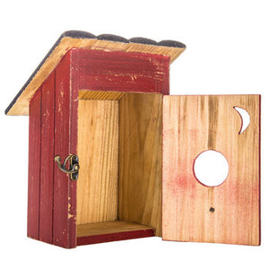Red Outhouse Wood Birdhouse