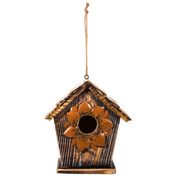 Wood Birdhouse with Flower Opening