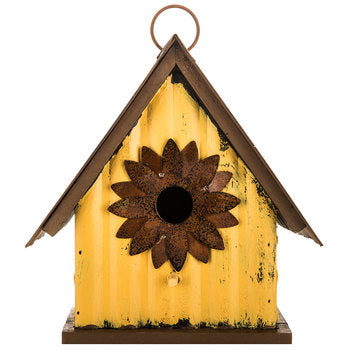 Yellow Birdhouse with Metal Flower Opening