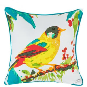 Yellow Bird Outdoor Pillow With Turquoise Edge
