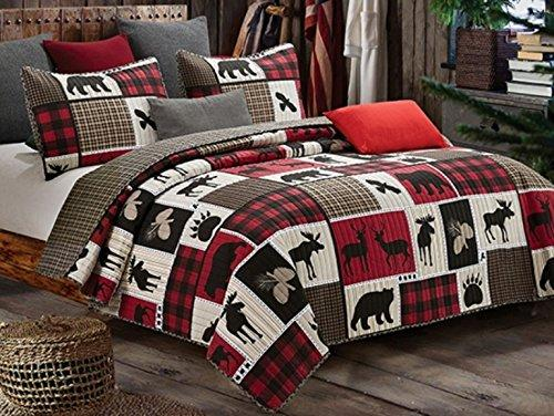 Virah Bella Lodge Life 3pc King Quilt Set, Black Bear Paw Moose Cabin Red Buffalo Check Plaid
