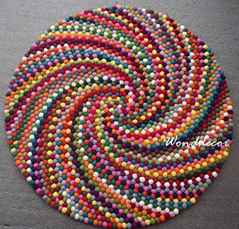 Pom pom rug - Colorful round felt ball area rug - Perfect carpet for kids room or play mat for nursery -Beautiful multicolor swirl design - Made from felted wool balls
