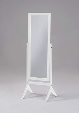 White Finish Wooden Cheval Bedroom Free Standing Floor Mirror