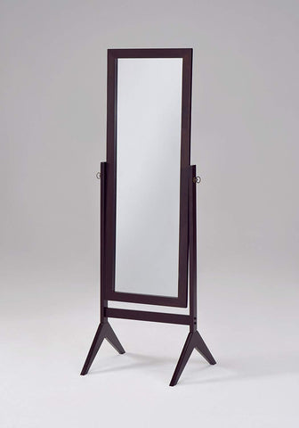 Espresso Finish Wooden Cheval Bedroom Floor Mirror