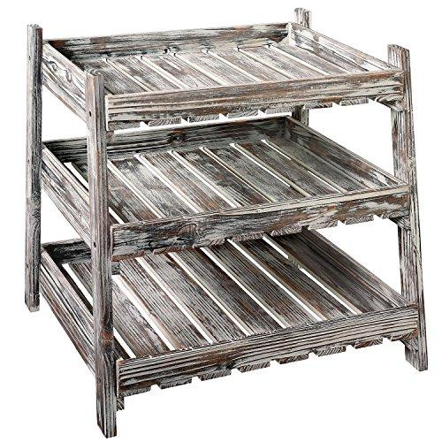 Country Rustic Wood Crate Design Display Rack with 3 Cascading Shelves - King City Treasures