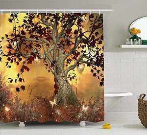 Ambesonne Old Twisted Tree Print Polyester Fabric Shower Curtain - King City Treasures