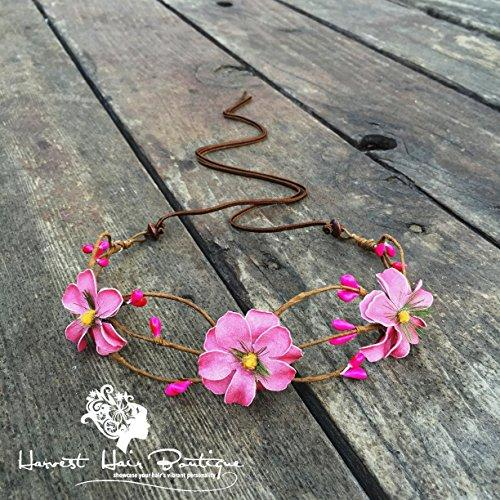 Floral boho headpiece crown in rose pink // Flower headband halo crown for a hippie chic party, festival, or wedding hair accessory