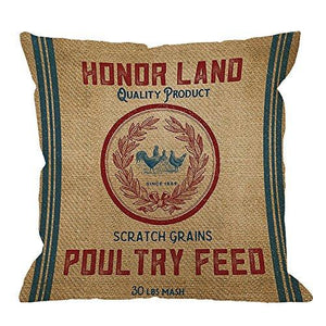 HGOD DESIGNS Throw Pillow Case Vintage Burlap Poultry Feed Sack Cotton Linen Square Cushion Cover Standard Pillowcase for Men Women Kids Home Decorative Sofa Armchair Bedroom Livingroom 18 x 18 inch